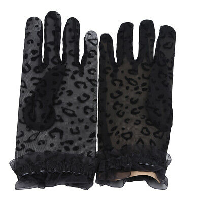 Accessories Sun Protection Gloves Women Lady Driving Leopard Print Lace Gloves