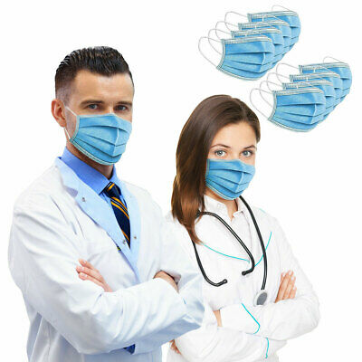 50 PCS Face Mask Medical Surgical Dental Disposable 3-Ply Earloop Mouth Cover US
