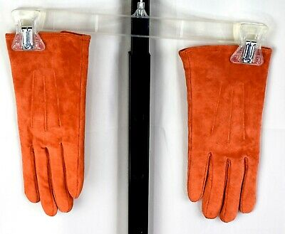 Orange Ladies Leather Soft Lining Gloves L