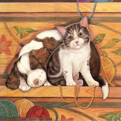 Puppy and kitten oil painting Home decor Giclee Art Printed on canvas L2899