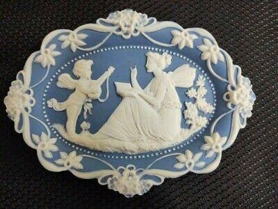 Vintage blue/white Jasperware ovalesque wall plaque