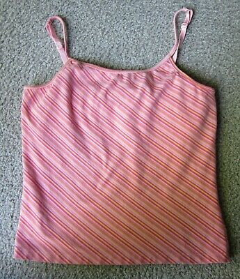 Xhilaration Stretch Cami/Tank Top M Pink Striped Adjustable Straps