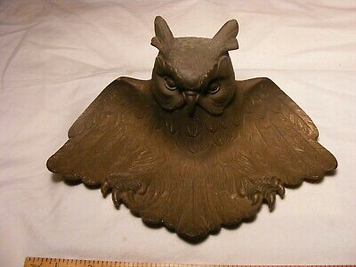 >> Antique Judd pn/ 4536 Owl Inkwell excellent detail  , cast iron , pretty nice