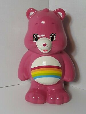 Cheer Care Bear 2015 Ceramic Bank, 8 inches tall, Pink with Rainbow Tummy