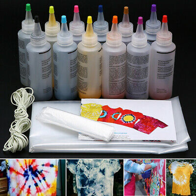 12pcs/set One Step Tie Dye Kit Vibrant Fabric Textile Permanent Paint Kits