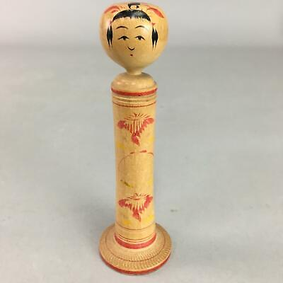 Japanese Kokeshi Doll Vtg Wooden Figurine Hand-Painted Flower Child KF304