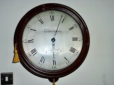 Rare antique 15 inch silvered dial early verge fusee with wooden dial C 1765