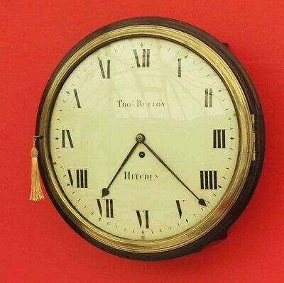 Antique 14 inch convex dial fusee with rare numbers c 1820