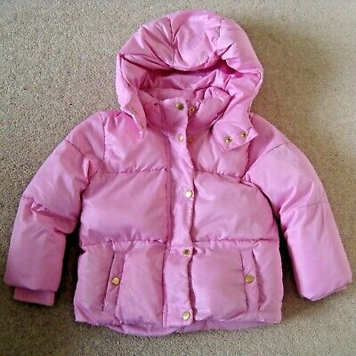Girl's H&M Pink Quilted Coat Age 3-4 Yrs Hooded Bomber Puffer Puffa Padded