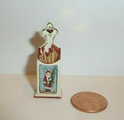 Karen Markland Miniature Match Holder W/Santa Painting On The Front 1996