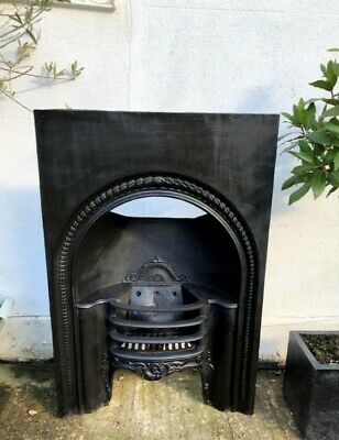 Beautiful Antique Victorian Arched Cast Iron Hob-grate Fireplace Insert