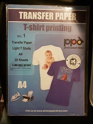 A4 Inkjet Iron-on transfers Paper /  Light T-Shirt x 20