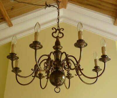 Vintage brass Flemish Chandelier 8 lamp ceiling light ~ French Chic