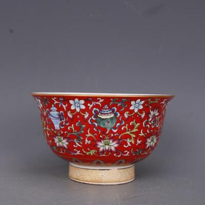 Collect China Qing Dynasty Porcelain Famille Rose Eight Auspicious Symbols Bowl