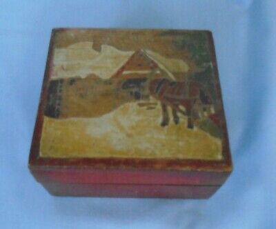 """Wooden Box with Marquetry Inlay Horse & House Hinged Lid apr 4.5"""" x 4"""" x 2.5"""""""