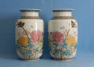 Very Fine Facing Pair Antique Chinese 20th Century Egg Shell Porcelain Vases