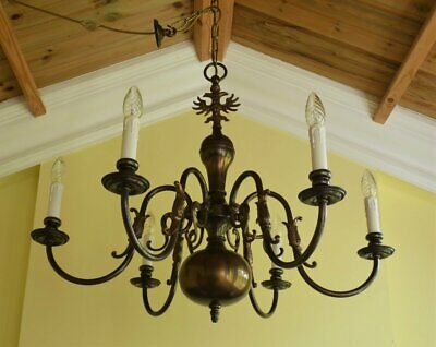 Vintage brass Flemish chandelier ceiling light 6 lamp French Chic
