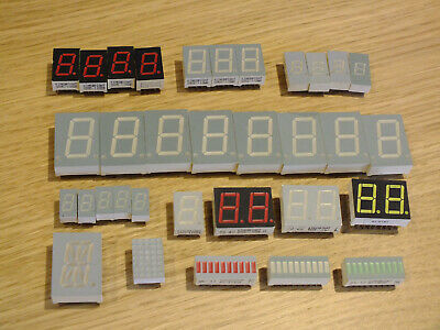 BIG JOB LOT 7 Segment LED Displays red green white alphanumeric bars WILL SPLIT!