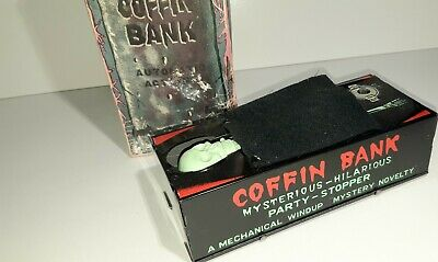 Vintage Skeleton Coffin Bank, coin litho wind-up with BOX