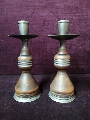 Quality Pair of Pewter and Wood Candlesticks Possible Arts and Crafts
