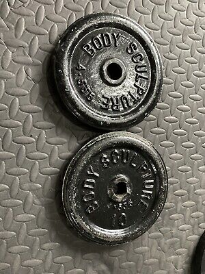 "2x 10lbs Cast Iron Weight For 1"" Standard Barbell"