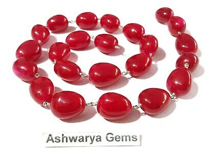 3 Feet Red Quartz Nugget Beads Rosary Beaded Chain Silver Plated Wire Wrapped