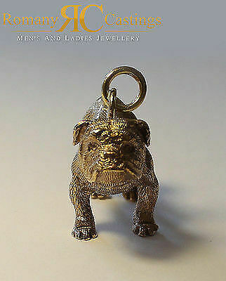 Heavy English Bull Dog  Pendant cast in Jewellers Bronze with a large Jump Ring
