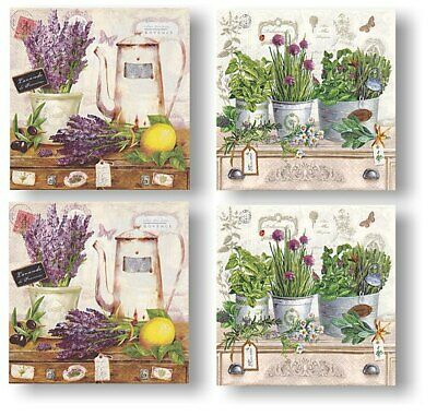 4 Servietten Kathryn White design - Serviettentechnik Decoupage Scrap Kräuter