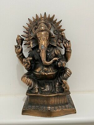 Vintage Antique Indian Bronze Statue Ganesh (mixed Metal)