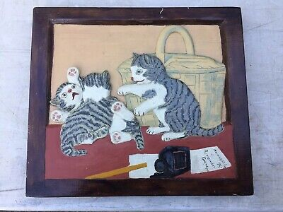 Folk Art Carved Wooden Cat Picture Sgnd & Dated  1927 Norwich Ct    Dieterich