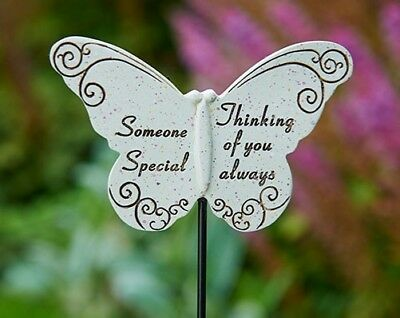 In Loving Memory Butterfly Sentiment Graveside Stone Memorial Stick Stake