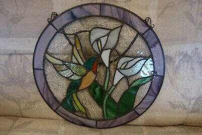 LARGE Hanging Stained Glass FLOWER & HUMMING BIRD SUNCATCHER