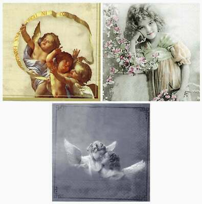 3 Servietten nostalgie Angel Fotos - Serviettentechnik Basteln Decoupage - Engel
