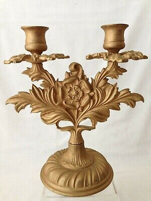 Antique French Gilt Bronze Ormolu Candlestick Early 20th Century 8.5 Inches