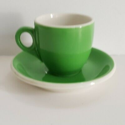 Vintage Syracuse China Restaurant Ware Green And White Demitasse Cup And Saucer