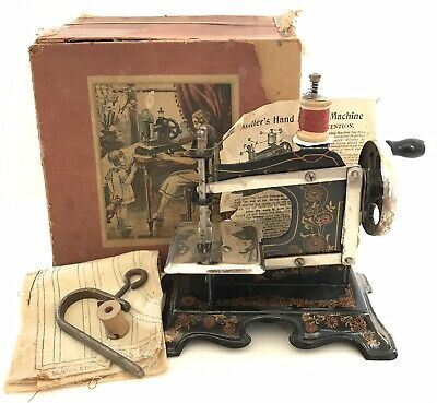 Antique Muller German Miniature Cast Iron Toy Sewing Machine Boxed &Instructions