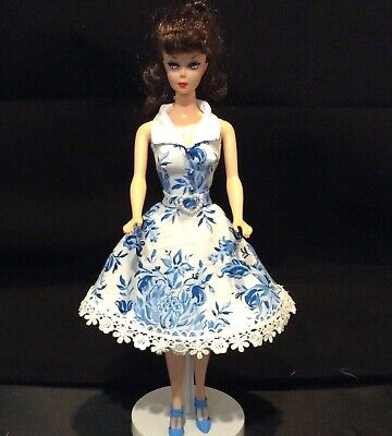 Handmade Lined Dress Fits 11 1/2 Dolls - Barbie Repro Vintage,Silkstone Size