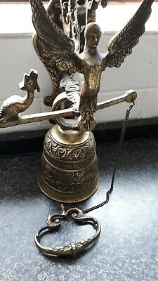 Vintage Solid Brass Ornate Door  Bell With Pull Cord