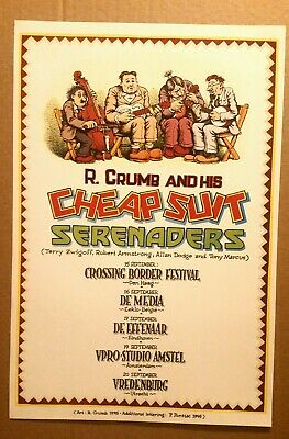 ☆ R Crumb & His Cheap Suit Serenaders  ☆ 1995 Tour Poster ☆ Exc Cond Authentic ☆