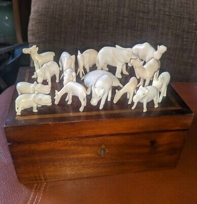 Chinese c19th bone carved animals x16 in mahogany box excellent Victorian