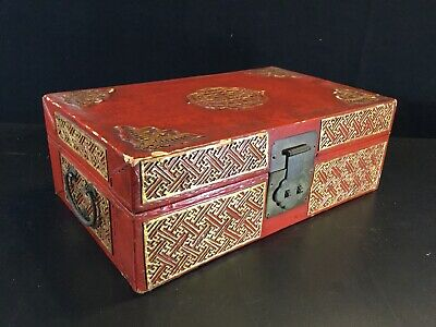 Chinese antique Red Gilt lacquer leather Bats Butterfly document box Case
