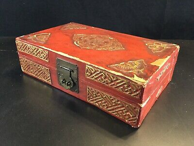 Chinese antique Red Gilt lacquer leather Bats Butterfly document box Case #2