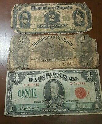 Canada 1914 $2 + 1898 $1 + 1923 $1 Large Size Currency****