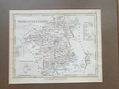 19th Century Antique Map Of Worcestershire Engraving Joshua Archer Dugdales