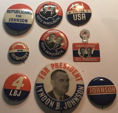 9 Assorted Lyndon B. Johnson Campaign Pins From The 1964 Presidential Election