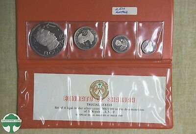 1969 Sharjah 4 Piece Proof Set With Original Holder And Paper - Only 2500 Minted