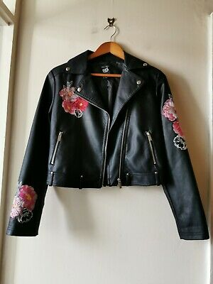 New Look 915 Age 14-16 Faux Leather Embroidered Biker Jacket