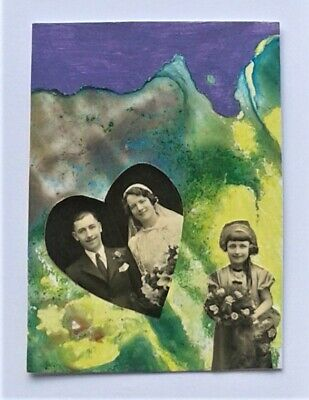 ACEO original collage and acrylic semi-abstract No.3 by Janet R. signed/dated
