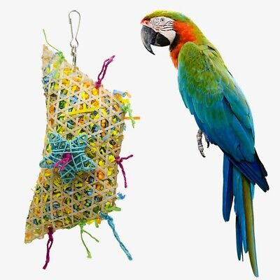 Pet Bird Parrot Pull Wire Straw Rope Bamboo Swing Cage Foraging Chew Toys @ly