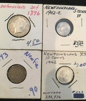 Seven (7) old Newfoundland silver coins 1X 20 cents, 5 X 10 cents and 1 X 5 cent